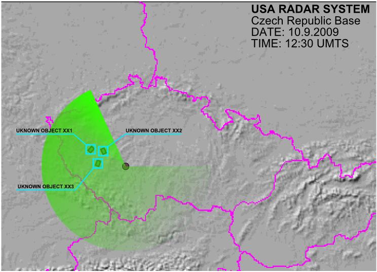 Radar locating strange objects near Bolevec ponds